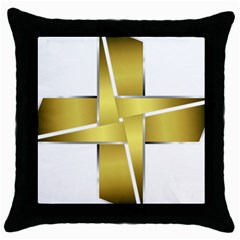 Logo Cross Golden Metal Glossy Throw Pillow Case (black) by Nexatart