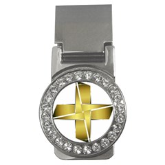 Logo Cross Golden Metal Glossy Money Clips (cz)  by Nexatart