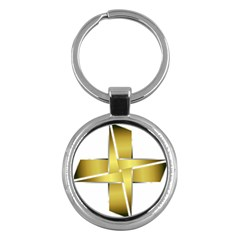 Logo Cross Golden Metal Glossy Key Chains (round)  by Nexatart