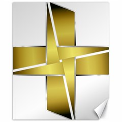 Logo Cross Golden Metal Glossy Canvas 16  X 20   by Nexatart