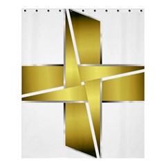 Logo Cross Golden Metal Glossy Shower Curtain 60  X 72  (medium)  by Nexatart