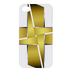 Logo Cross Golden Metal Glossy Apple Iphone 4/4s Hardshell Case by Nexatart