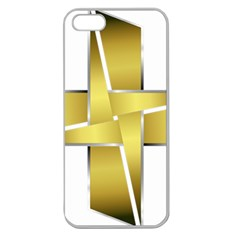 Logo Cross Golden Metal Glossy Apple Seamless Iphone 5 Case (clear) by Nexatart