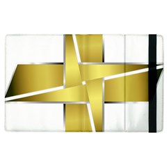 Logo Cross Golden Metal Glossy Apple Ipad 2 Flip Case by Nexatart