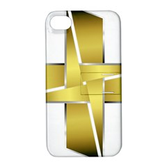 Logo Cross Golden Metal Glossy Apple Iphone 4/4s Hardshell Case With Stand by Nexatart