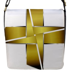 Logo Cross Golden Metal Glossy Flap Messenger Bag (s) by Nexatart