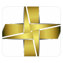 Logo Cross Golden Metal Glossy Double Sided Flano Blanket (small)  by Nexatart