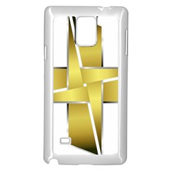 Logo Cross Golden Metal Glossy Samsung Galaxy Note 4 Case (white)
