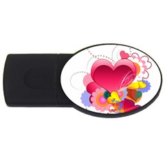 Heart Red Love Valentine S Day Usb Flash Drive Oval (4 Gb)