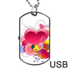 Heart Red Love Valentine S Day Dog Tag Usb Flash (two Sides) by Nexatart