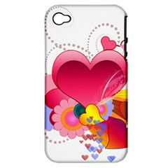 Heart Red Love Valentine S Day Apple Iphone 4/4s Hardshell Case (pc+silicone) by Nexatart
