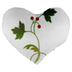Element Tag Green Nature Large 19  Premium Flano Heart Shape Cushions by Nexatart