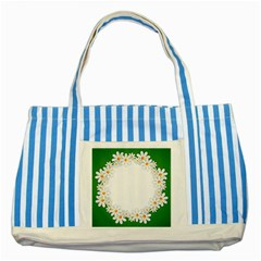 Photo Frame Love Holiday Striped Blue Tote Bag by Nexatart