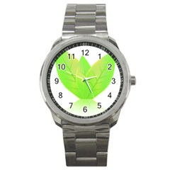 Leaves Green Nature Reflection Sport Metal Watch by Nexatart