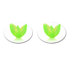 Leaves Green Nature Reflection Cufflinks (oval) by Nexatart