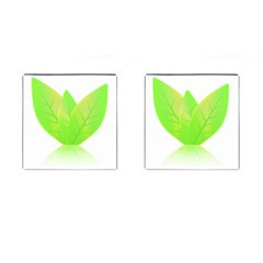 Leaves Green Nature Reflection Cufflinks (square)