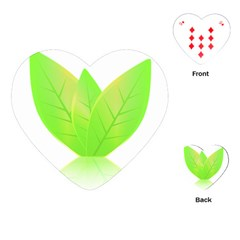 Leaves Green Nature Reflection Playing Cards (heart)  by Nexatart