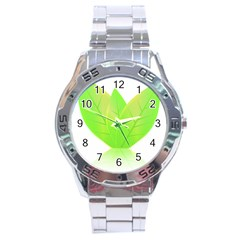 Leaves Green Nature Reflection Stainless Steel Analogue Watch
