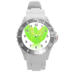 Leaves Green Nature Reflection Round Plastic Sport Watch (l) by Nexatart