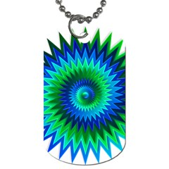 Star 3d Gradient Blue Green Dog Tag (two Sides) by Nexatart