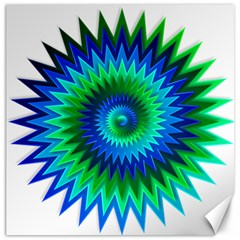 Star 3d Gradient Blue Green Canvas 16  X 16