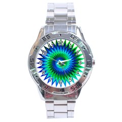 Star 3d Gradient Blue Green Stainless Steel Analogue Watch by Nexatart