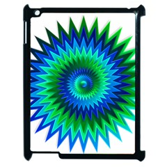 Star 3d Gradient Blue Green Apple Ipad 2 Case (black) by Nexatart