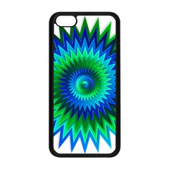 Star 3d Gradient Blue Green Apple Iphone 5c Seamless Case (black)