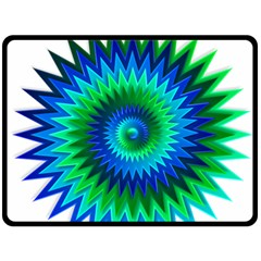 Star 3d Gradient Blue Green Double Sided Fleece Blanket (large)  by Nexatart
