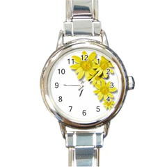 Flowers Spring Yellow Spring Onion Round Italian Charm Watch
