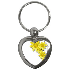 Flowers Spring Yellow Spring Onion Key Chains (heart)  by Nexatart