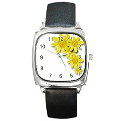 Flowers Spring Yellow Spring Onion Square Metal Watch by Nexatart