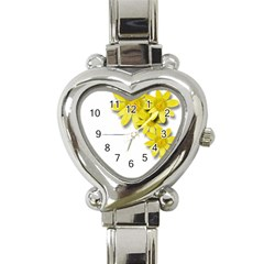 Flowers Spring Yellow Spring Onion Heart Italian Charm Watch by Nexatart