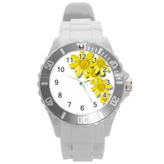 Flowers Spring Yellow Spring Onion Round Plastic Sport Watch (l) by Nexatart