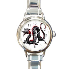 Dragon Black Red China Asian 3d Round Italian Charm Watch by Nexatart