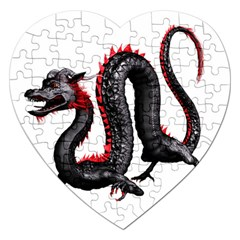 Dragon Black Red China Asian 3d Jigsaw Puzzle (heart) by Nexatart