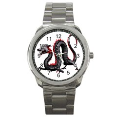 Dragon Black Red China Asian 3d Sport Metal Watch by Nexatart