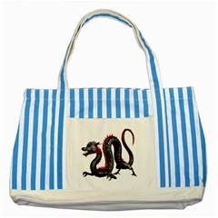 Dragon Black Red China Asian 3d Striped Blue Tote Bag by Nexatart