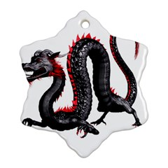Dragon Black Red China Asian 3d Snowflake Ornament (two Sides) by Nexatart