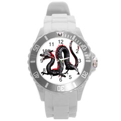 Dragon Black Red China Asian 3d Round Plastic Sport Watch (l)