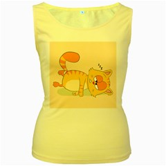 Even Cat Hates Monday Women s Yellow Tank Top by Catifornia