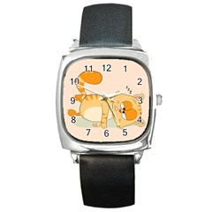 Even Cat Hates Monday Square Metal Watch by Catifornia