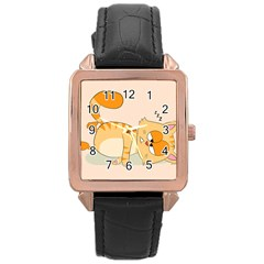Even Cat Hates Monday Rose Gold Leather Watch  by Catifornia