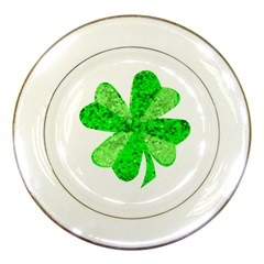 St Patricks Day Shamrock Green Porcelain Plates by Nexatart