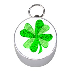 St Patricks Day Shamrock Green Mini Silver Compasses
