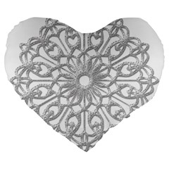 Scrapbook Side Lace Tag Element Large 19  Premium Heart Shape Cushions