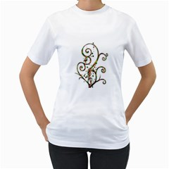 Scroll Magic Fantasy Design Women s T Shirt (white) (two Sided) by Nexatart
