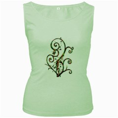 Scroll Magic Fantasy Design Women s Green Tank Top