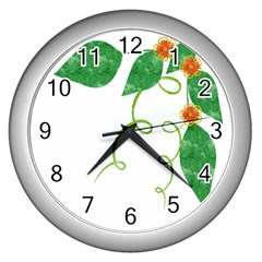 Scrapbook Green Nature Grunge Wall Clocks (silver)  by Nexatart