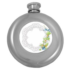 Scrapbook Element Lace Embroidery Round Hip Flask (5 Oz) by Nexatart